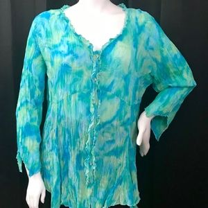 Coldwater Creek plus size crinkle blouse